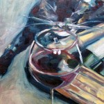 Pezzy with Wine Box Oil Painting